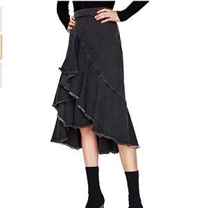 New Zara Ruffled Denim Midi Skirt